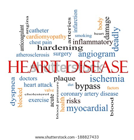 Heart Disease Word Cloud Concept with great terms such as plaque, ischemia, factors and more. - stock photo