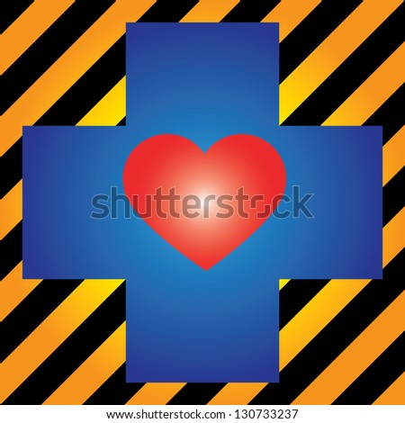 Heart Donation, Save Life or First Aid Concept Present by Blue Cross With Red Heart Inside in Caution Zone Dark and Yellow Background - stock photo