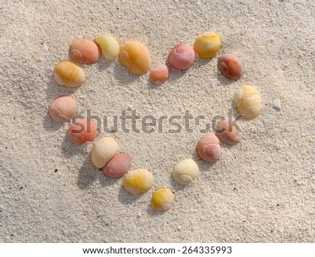 heart drawn with small shells in the sand - stock photo