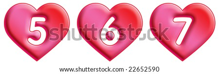 Heart Font - numbers - 5, 6 & 7 - stock photo