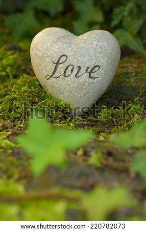 Heart for love in garden - stock photo