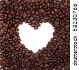 heart frame made from coffee beans - stock photo