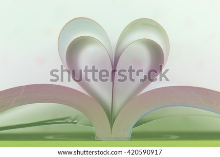 Heart from book pages - vintage effect style pictures - stock photo