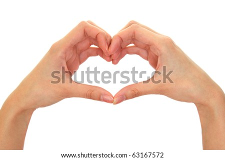 Heart from fingers isolated on the white - stock photo