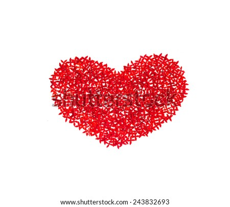 heart from flowers on white background, valentine's day  - stock photo