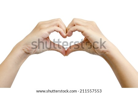 Heart from hand isolated on white background - stock photo