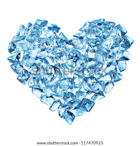 Heart from ice with bubbles isolated on white. Valentine card. - stock photo