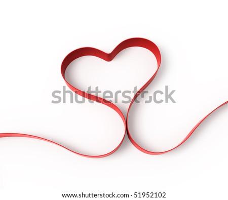 Heart from ribbon - stock photo