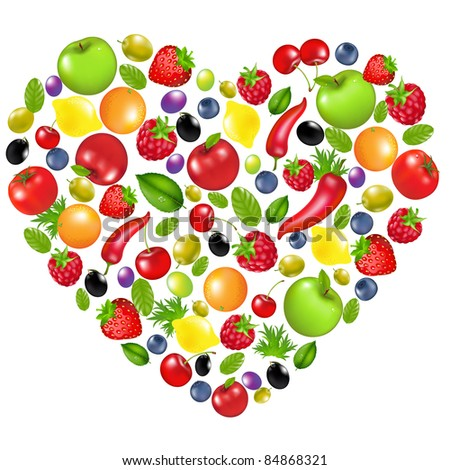 Heart From Vegetables And Fruit, Isolated On White Background - stock photo