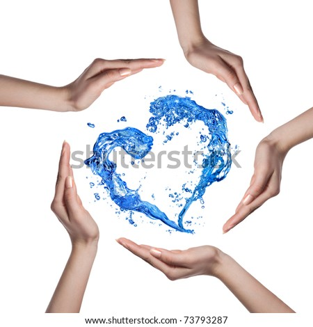 Heart from water splash with human hands isolated on white - stock photo