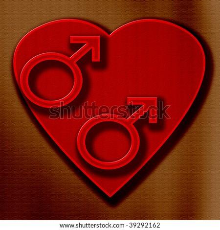 heart gay love boys red - stock photo