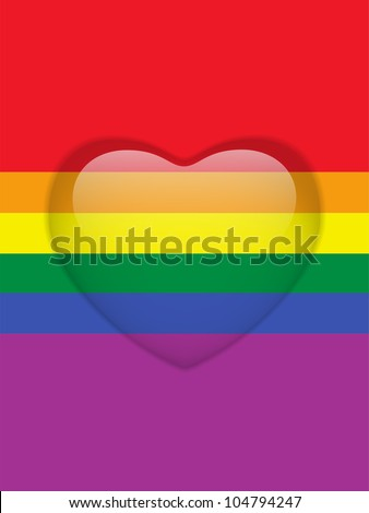 Heart Glass Buttons Gay Flag - stock photo
