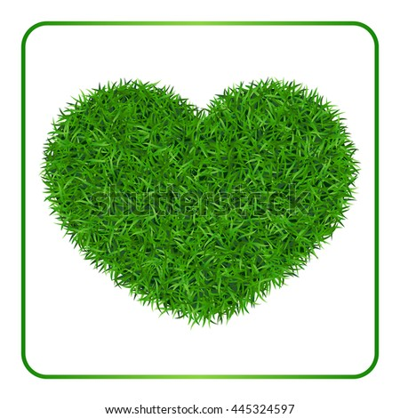Heart green grass background. Field template, isolated on white baclground. Plant texture. Valentines day design for card, banner, print etc. Meadow symbol of love, nature, happy. Illustration. - stock photo
