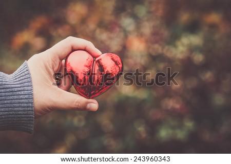 heart hand love romantic feeling vintage - stock photo
