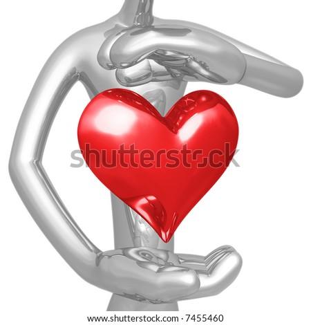Heart Hovering Between Hands - stock photo