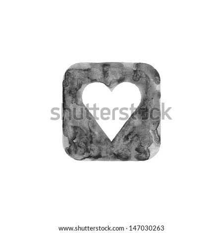 Heart icon button with favorite sign. Isolated rounded square shape on white background created in watercolor handmade technique. Web design element UI user interface. This is grayscale image. - stock photo