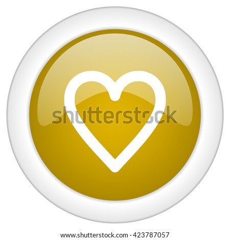 heart icon, golden round glossy button, web and mobile app design illustration - stock photo