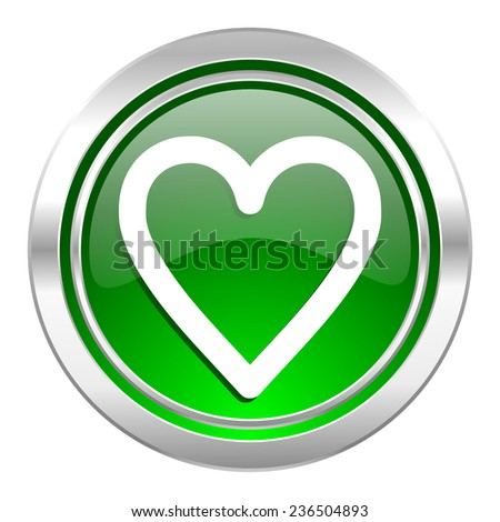 heart icon, green button, love sign  - stock photo