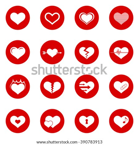 Heart Icon Set with Red Circle Icons.  Raster Version - stock photo