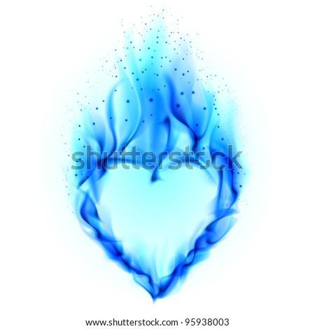 Heart in blue fire. Illustration on white background for design - stock photo