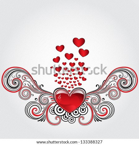 Heart in grunge style with treble clef and many small hearts. Raster version. - stock photo