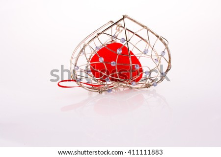 Heart in Heart cage on a white background - stock photo