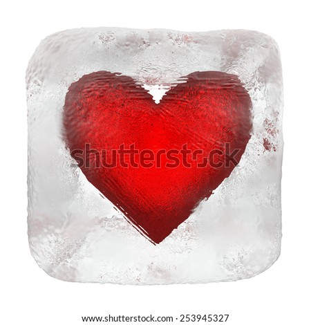 Heart in ice cube - stock photo