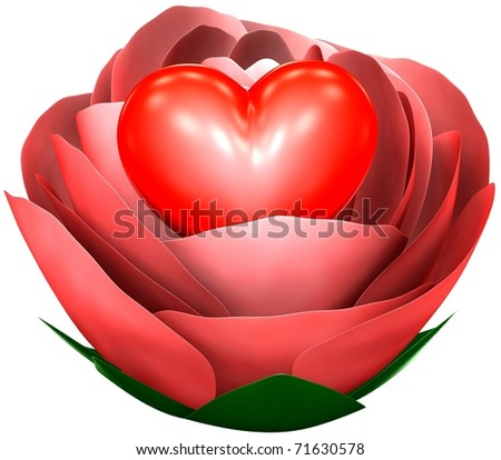 heart in rose - stock photo