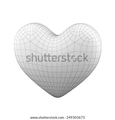 Heart  isolated on white background with grid - stock photo
