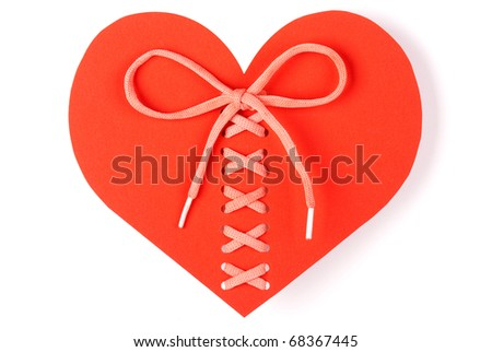 Heart laced isolated on a white background - stock photo