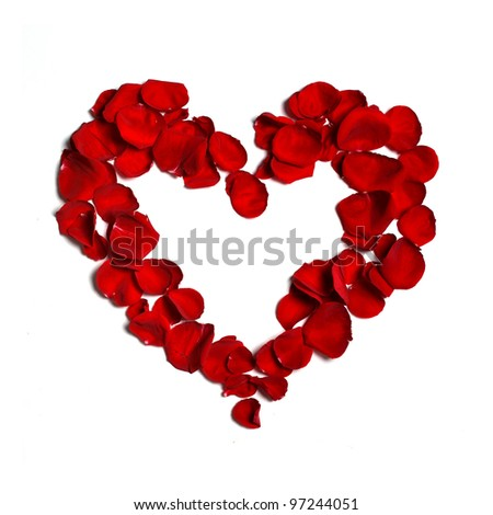 Heart made of  petals - stock photo