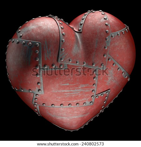 Heart made of steel plates attached with rivets. Clipping path included. - stock photo