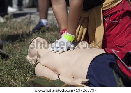 Heart massage - stock photo