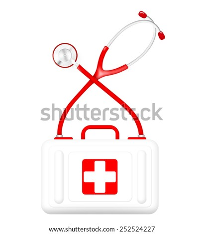 Heart monitor (Electrocardiogram or ECG) with a shape of heart and heart shaped sphygmomanometer pump and sphygmomanometer - stock photo