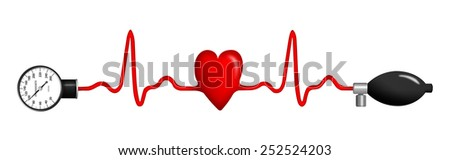 Heart monitor (Electrocardiogram or ECG) with a shape of heart and sphygmomanometer - stock photo
