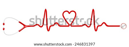 Heart monitor (Electrocardiogram or ECG) with a shape of heart and stethoscope - stock photo