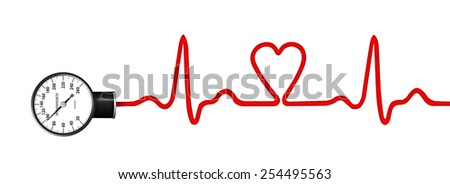 Heart monitor (Electrocardiogram or ECG) with a silhouette of heart and sphygmomanometer - stock photo