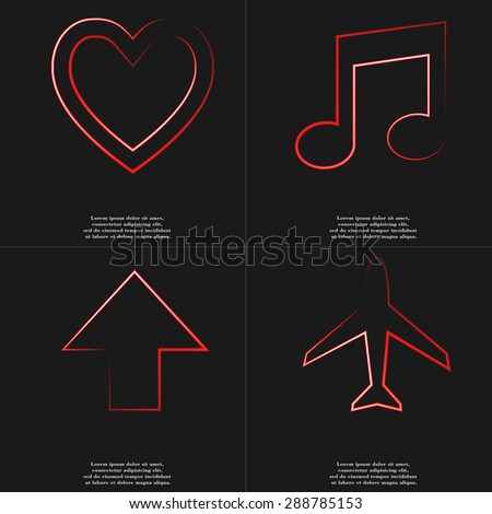 Heart, Note, Arrow directed upwards, Airplane icon sign. Style red neon symbols with space for your text Rasterized version - stock photo