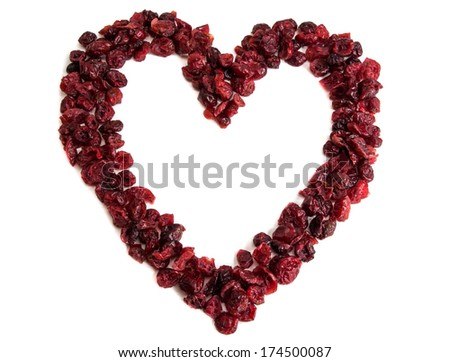 heart of dried cranberries - stock photo