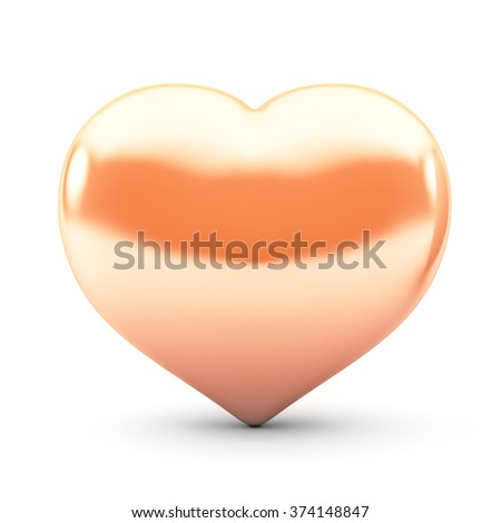 Heart of gold on a white background - stock photo