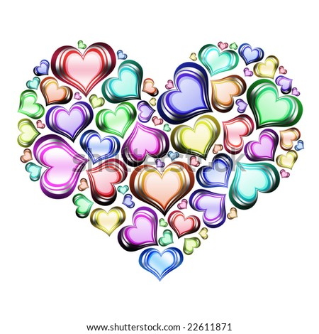 Heart of hearts in color with white background - stock photo