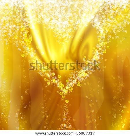 heart of the bubbles in a glass of champagne, romantic background - stock photo