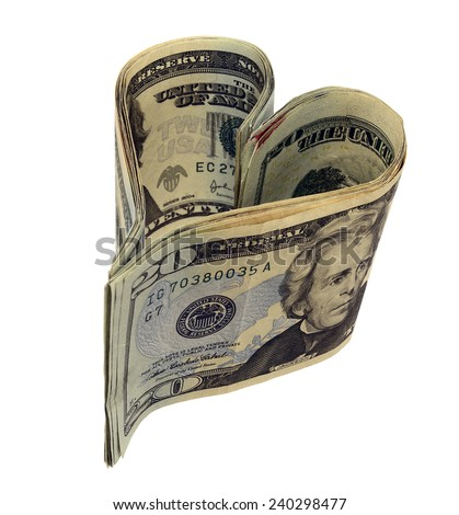 Heart of USD banknotes, Love of Money - stock photo