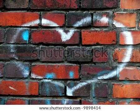 Heart on a brick wall - stock photo