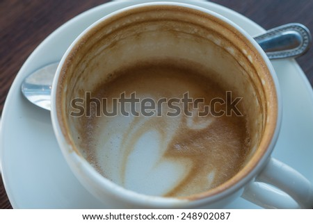 Heart on bottomless cup of coffee. - stock photo