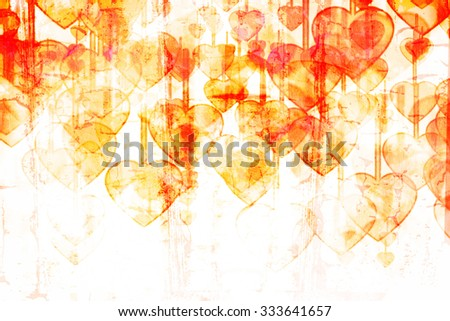 Heart on Grange background, an abstract figure - stock photo