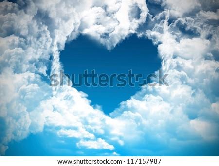 Heart on the sky - stock photo