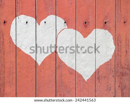 heart on white wood background Vintage Style - stock photo
