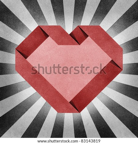 heart origami recycled paper craft  background - stock photo