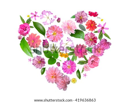 Heart Pattern Made from Summer Pink Flowers and Green Leaves on Light  Background.  - stock photo